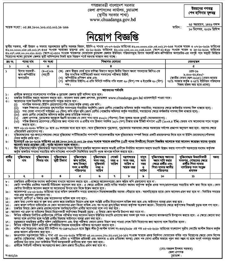 Chuadanga DC Office Job Circular