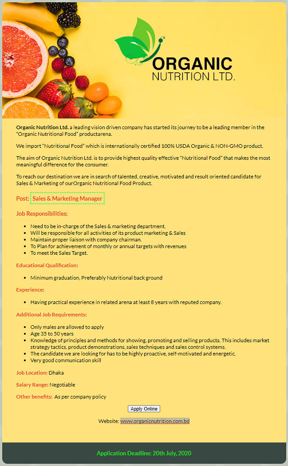 Organic Nutrition Ltd Job Circular